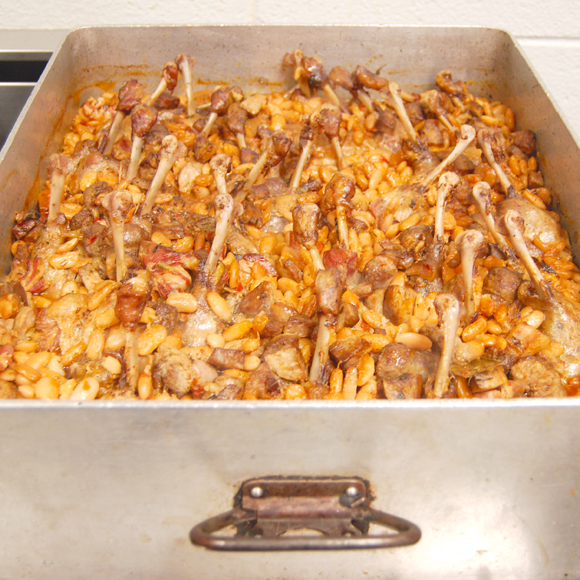 giant pan of cassoulet
