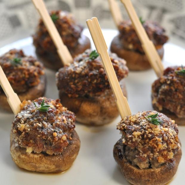 plump mushroom caps stuffed with sausage and breadcrumbs