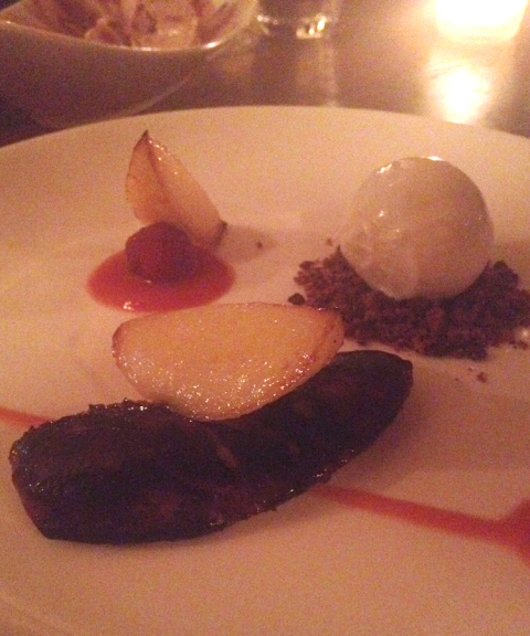 Caramelized Foie Gras with Pear, Cocoa Nib and Vanilla Bean Ice Cream