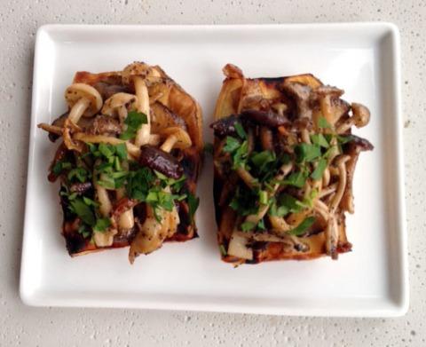 wild mushroom and white sweet potato tapas