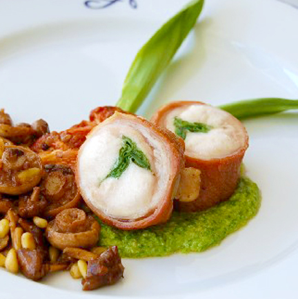 Ramp Stuffed Rabbit Loin Recipe with Wild Mushrooms