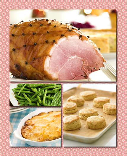 glazed ham, duck fat biscuits, citrus tarragon green beans, yukon gold morel mushroom gratin