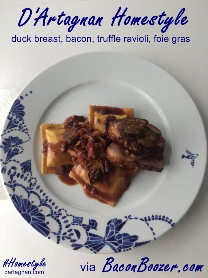 Bacon Boozer duck breast, truffle ravioli, foie gras CAPT