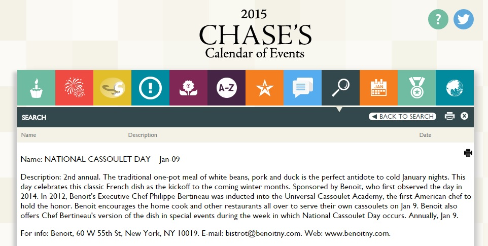 Cassoulet Day Chase's Calendar