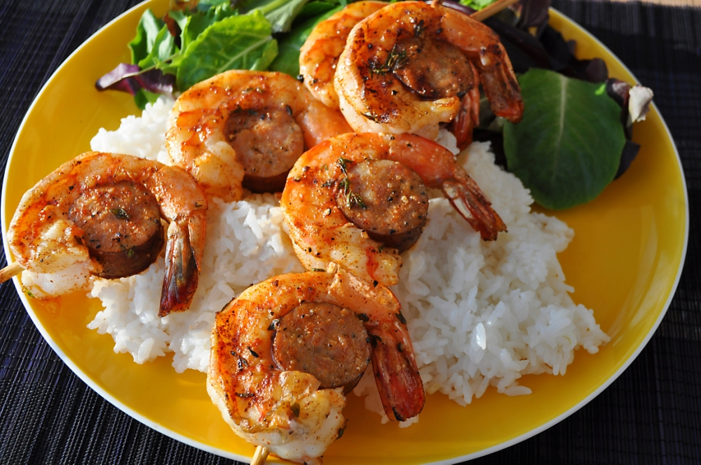 Grilled Andouille & Spicy Shrimp Kabobs