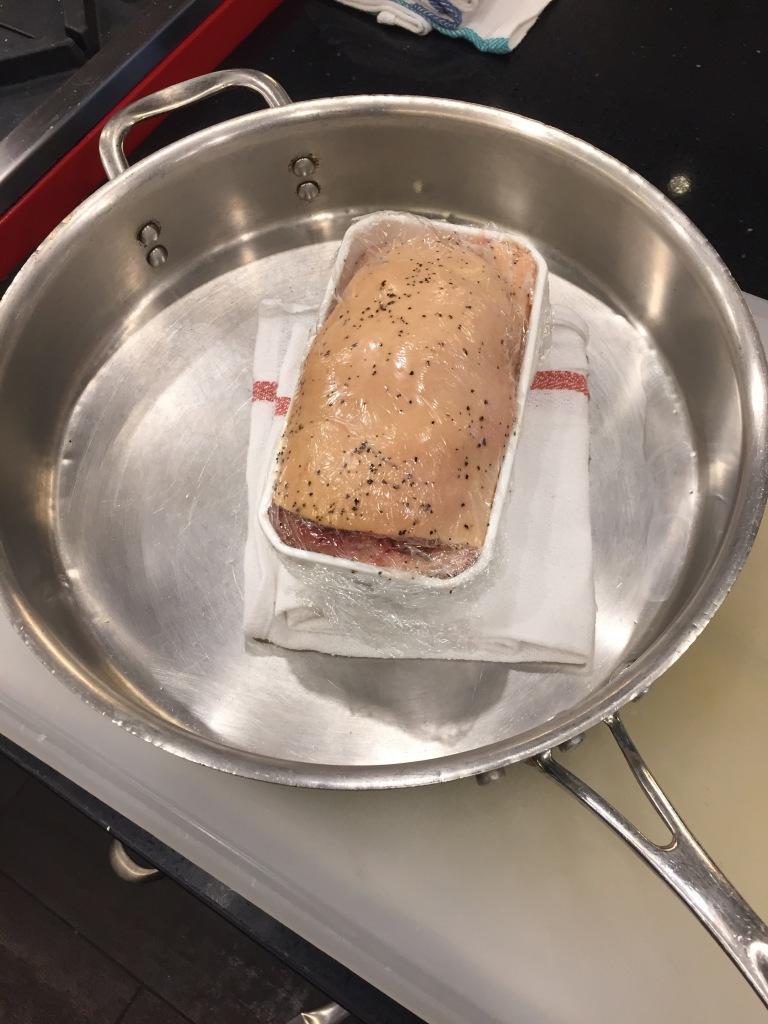 Foie gras terrine preparation.